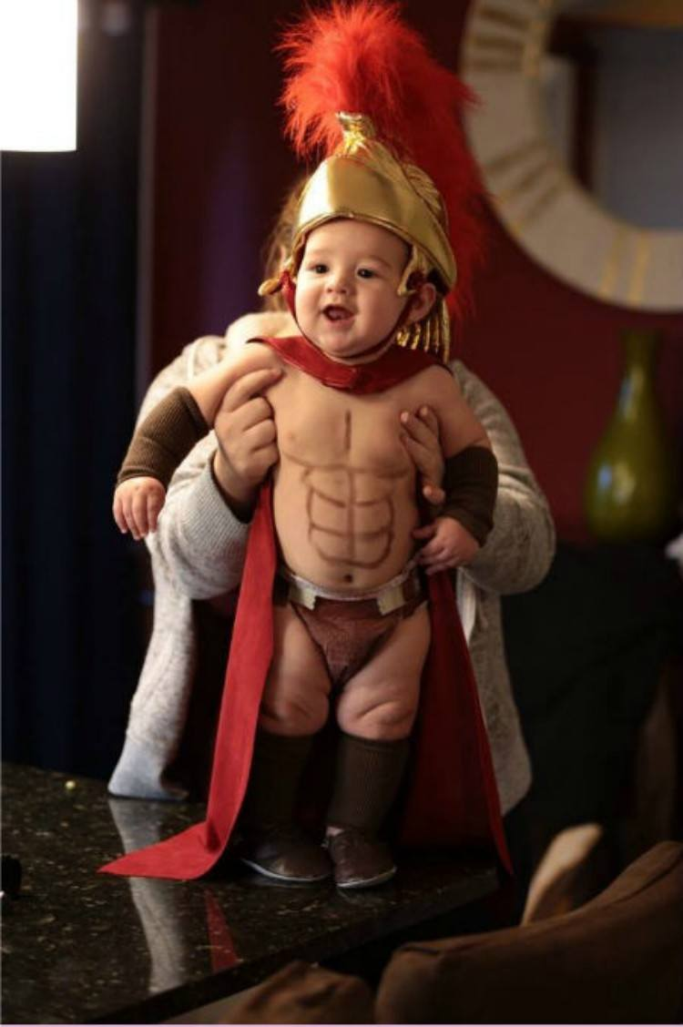 Baby in spartan costume