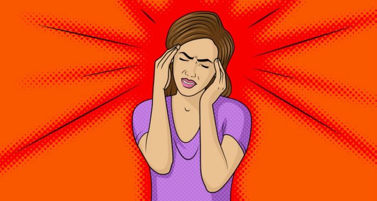 Woman with headache.