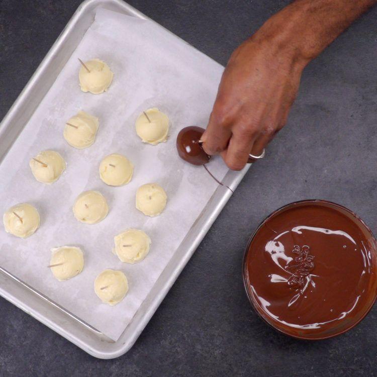 ice cream truffles dipping balls on tray