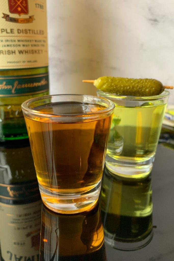 pickleback shot with bottle