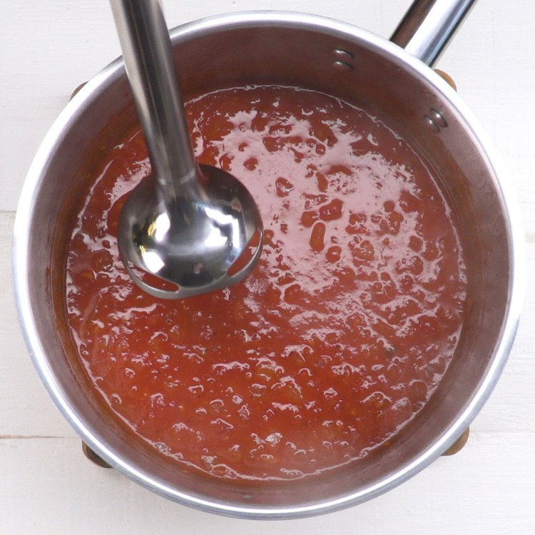 Tomato Basil Soup immersion blender.
