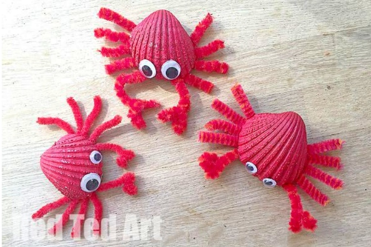 Spray paint shells red to make crab magents