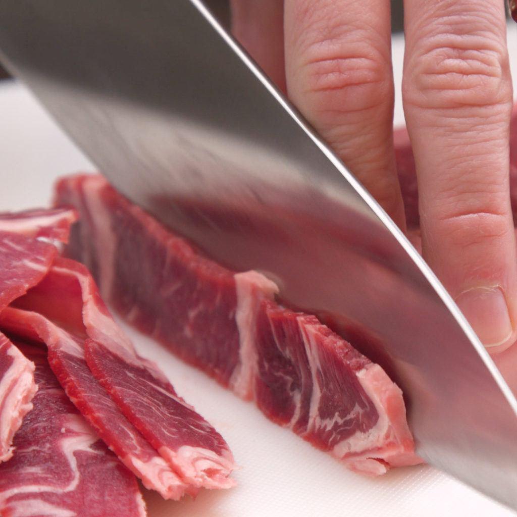 Cutting Steak for Cheesesteak Bites