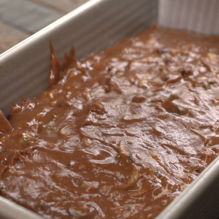 Batter for double chocolate zucchini bread in tin before baking