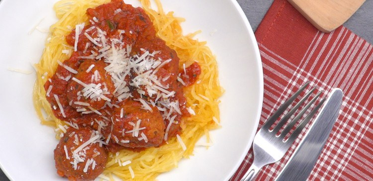 slow cooker spaghetti squash and meatballs featured image