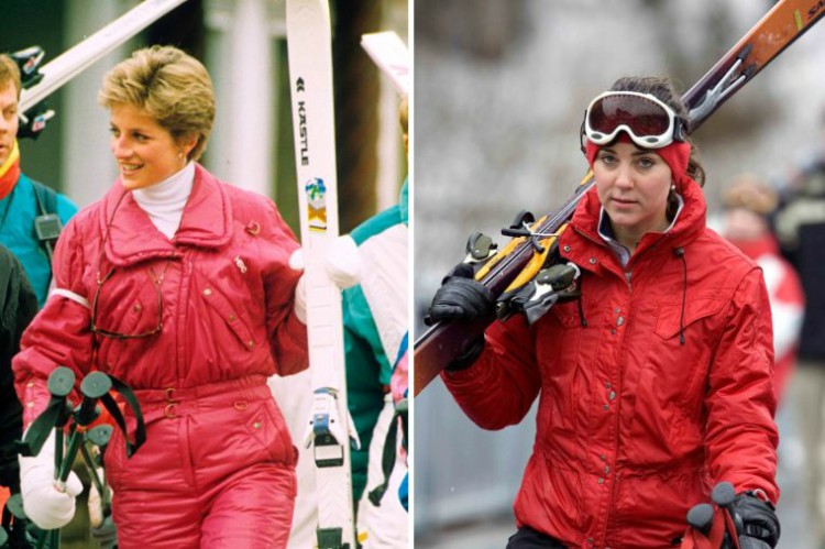 Image of Princess Diana and Kate Middleton wearing similar red ski outfit.