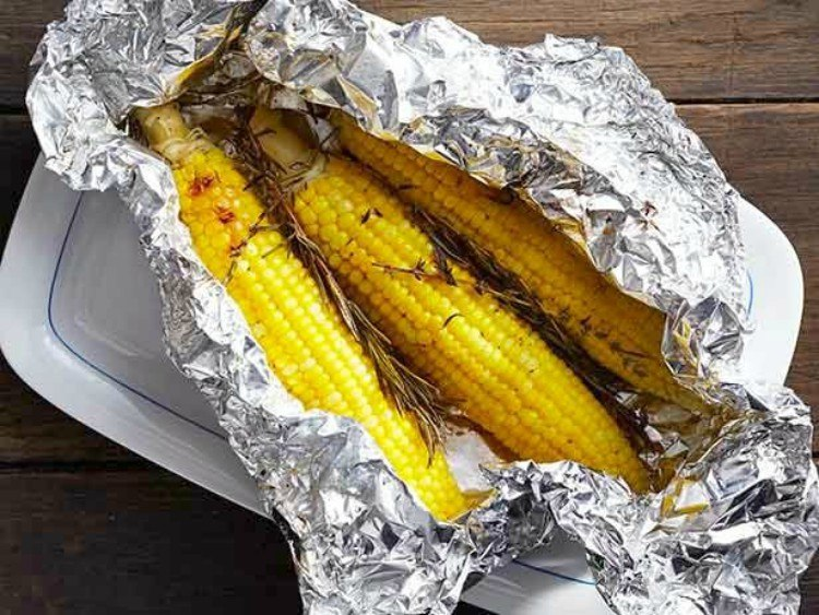 Corn on the cob in foil packet.
