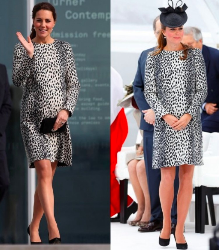 Image of Kate Middleton in leopard dress.