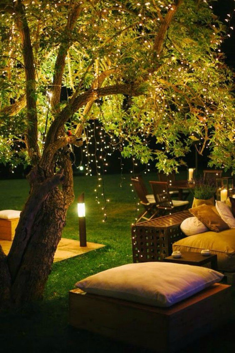 Fairy lights used to decorate an outdoor space.