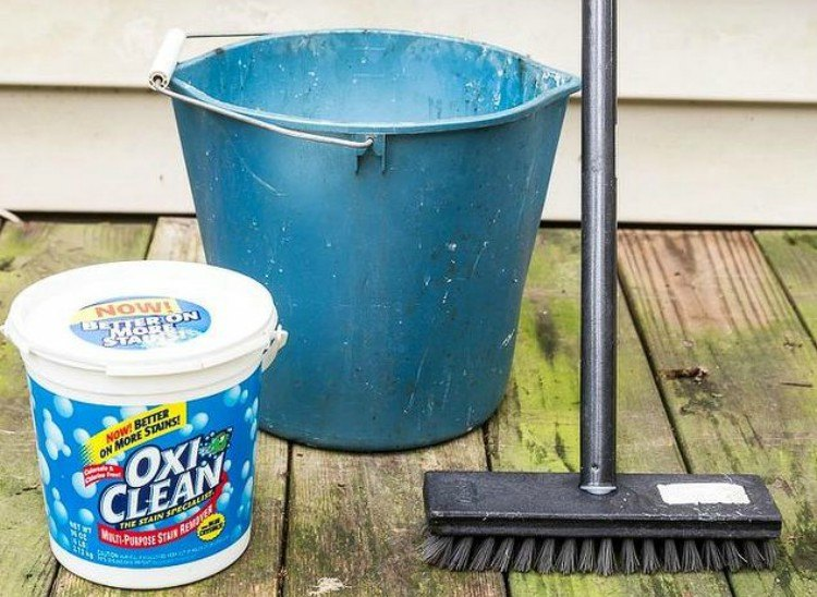 Materials for cleaning deck.