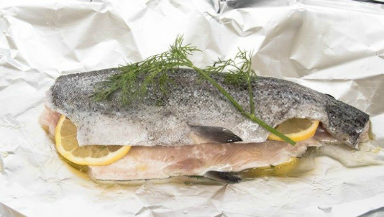 Trout in tin foil packet.