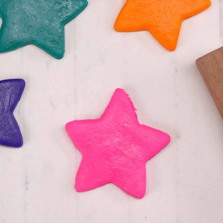 Homemade Marshmallow Playdough star cut out