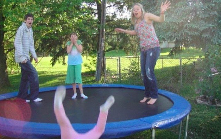 perfectly timed trampoline