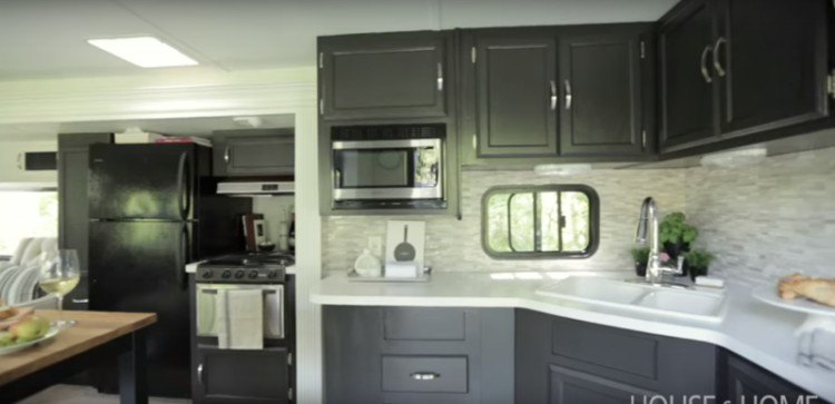 Made-over trailer kitchen.