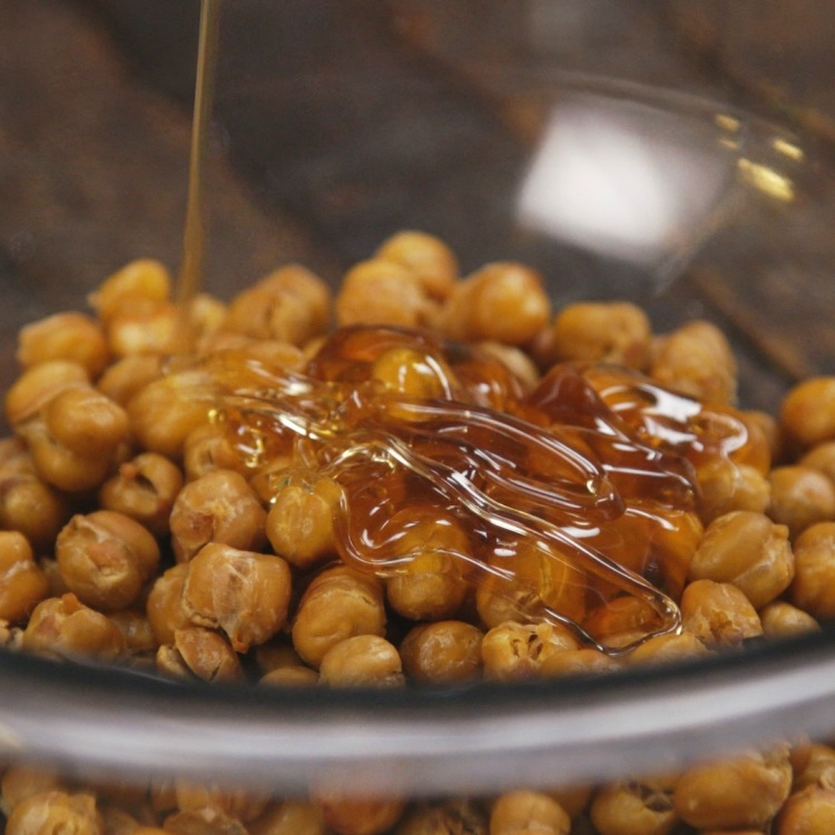 Drizzle baked chickpeas with honey