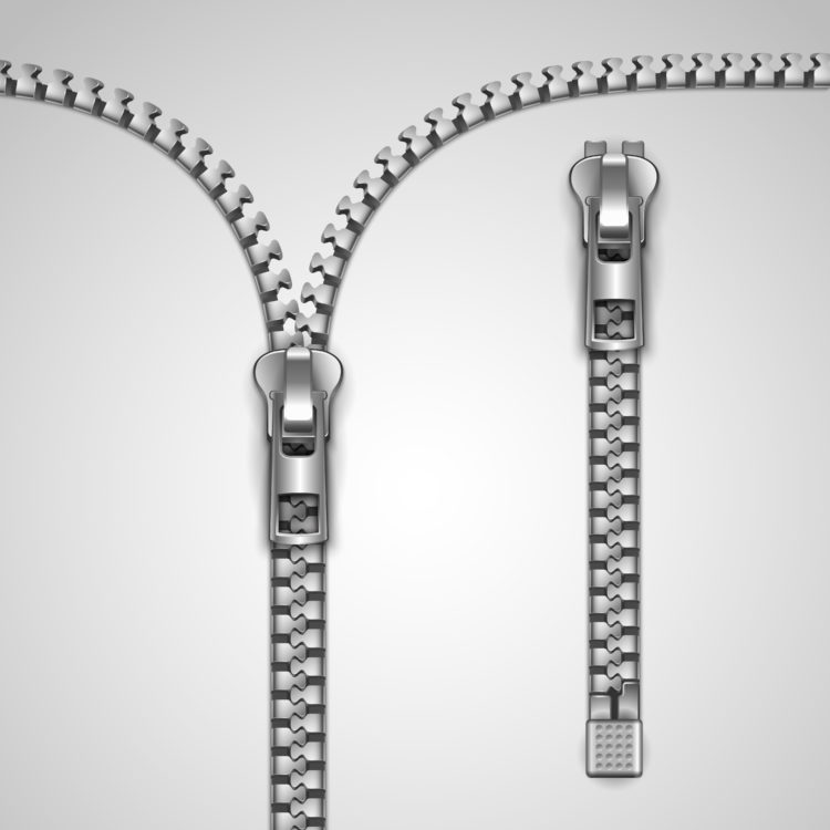 Image of metal realistic zipper template vector illustration