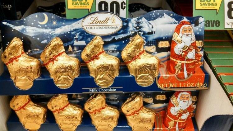 Chocolate bunnies posing as reindeer.