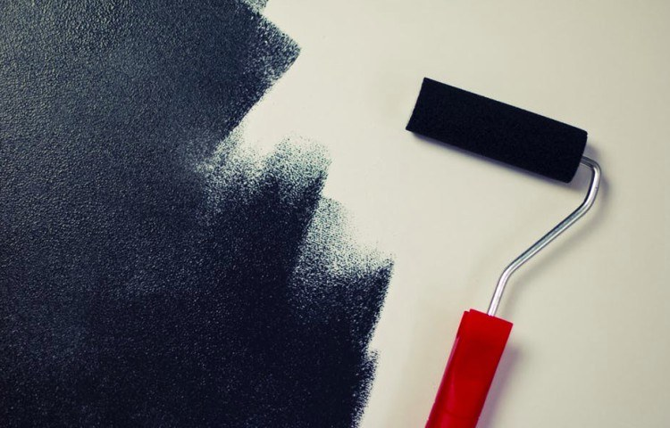 dark paint with roller