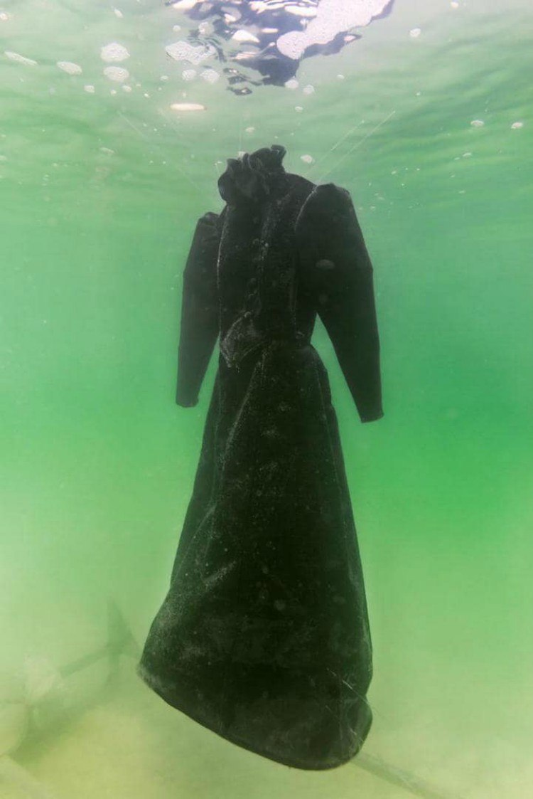 The original gown put in the Dead Sea.