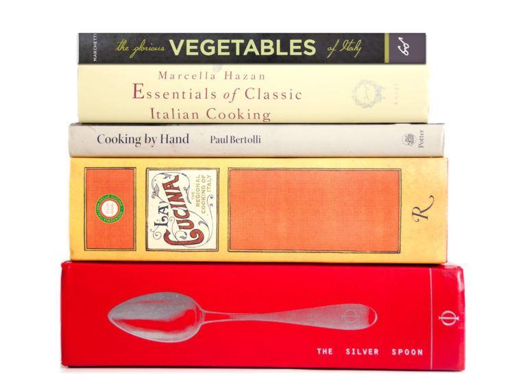 Pile of cookbooks.