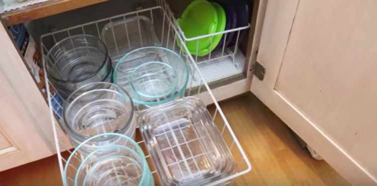view of a food storage container drawer in a kitchen