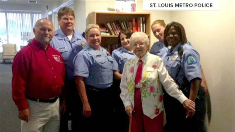 Edie Simms posing with the police force.