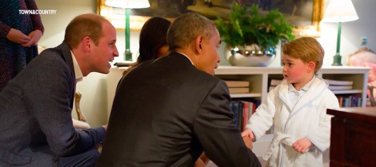 Prince William and son meet Obama