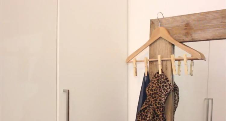 Multi-clip hanger using clothespins.