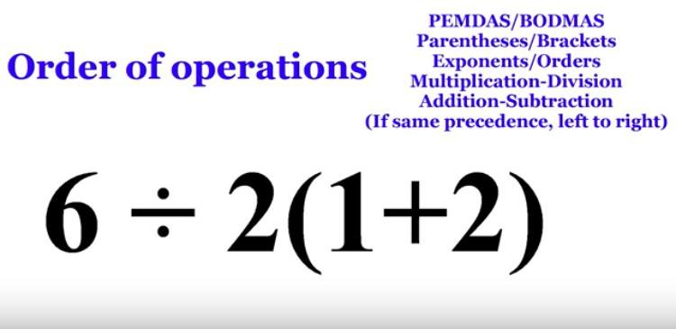 order of operations next to math problem