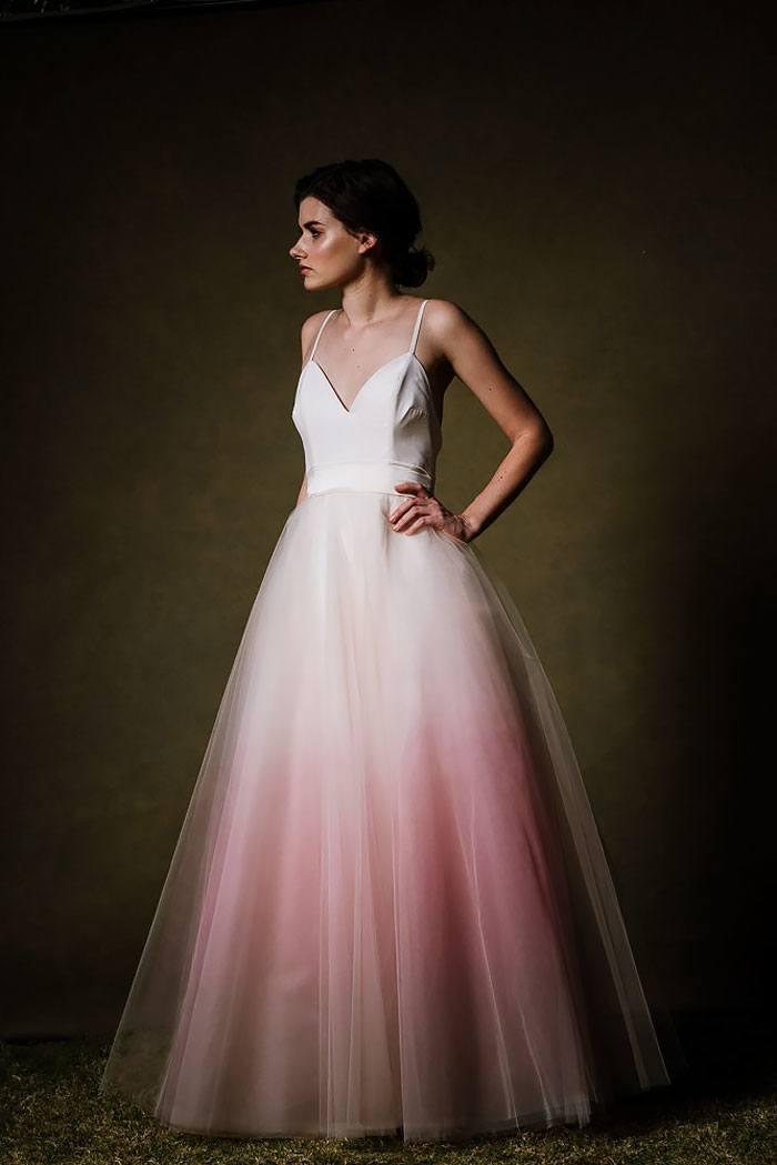 Blush dip-dyed wedding dress.