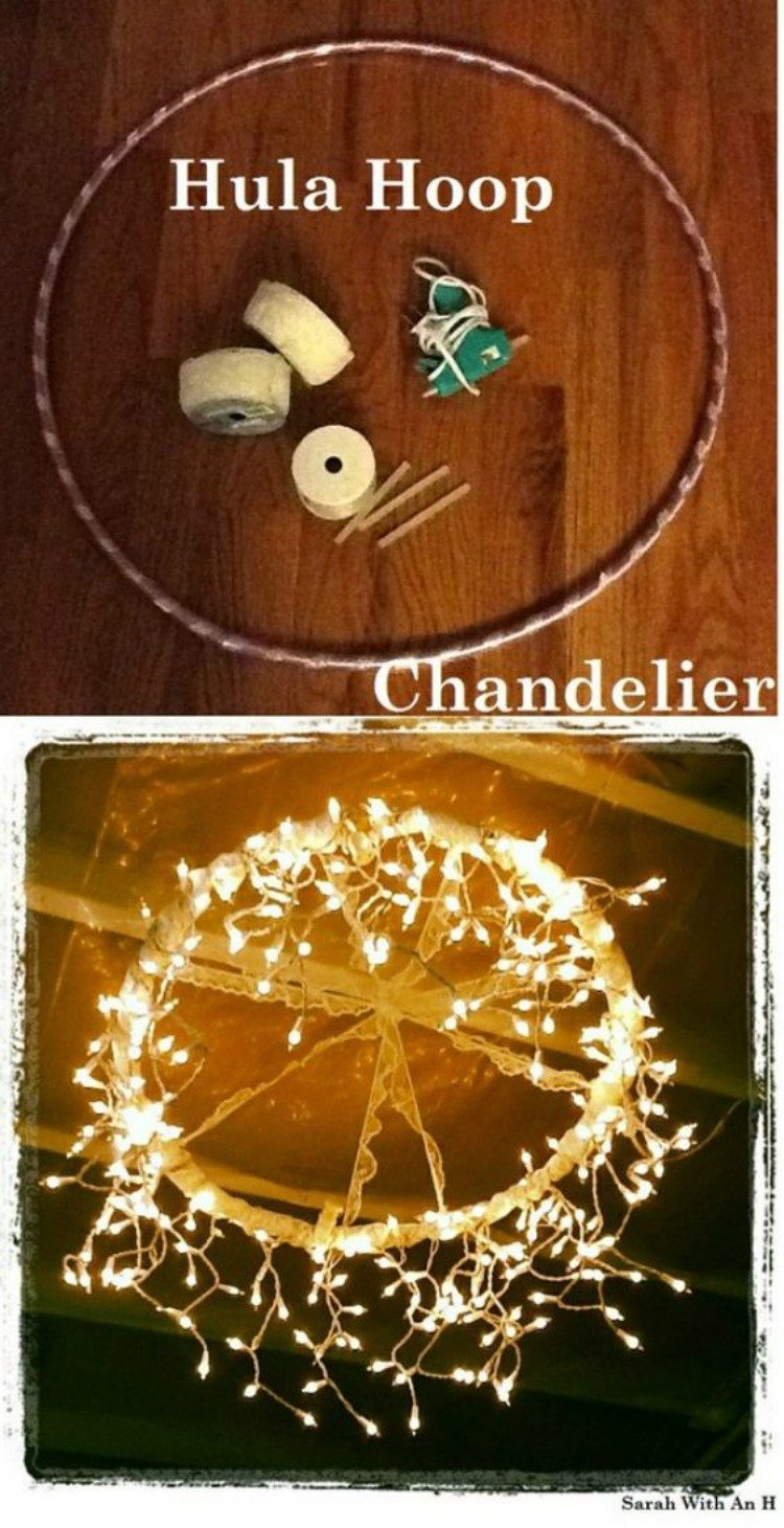 Chandalier made with lights and a hula hoop.
