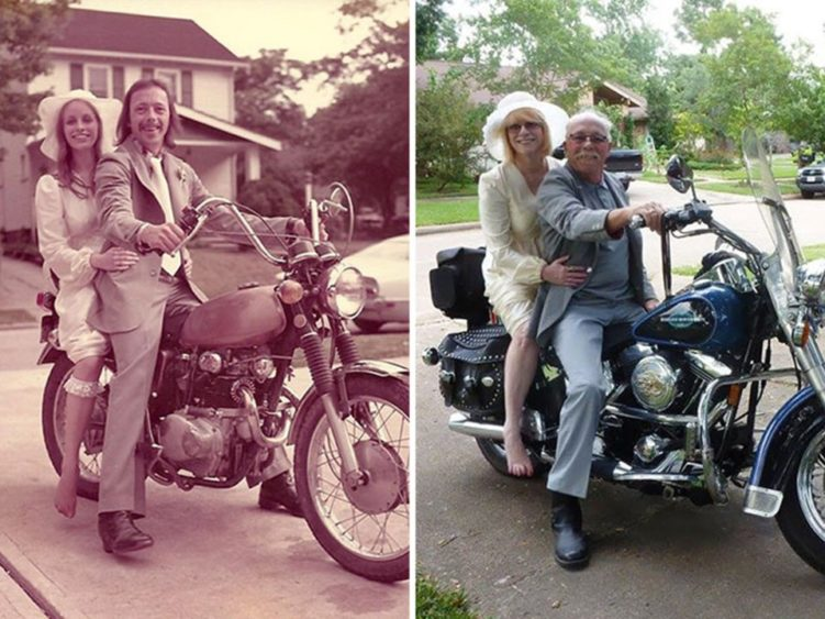 Image of before and after of couple on motorcycle years later