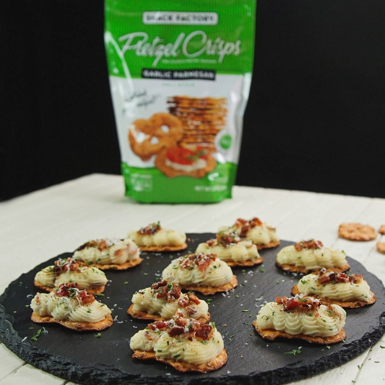 Loaded Potato Bites with Snack Factory® Pretzel Crisps®
