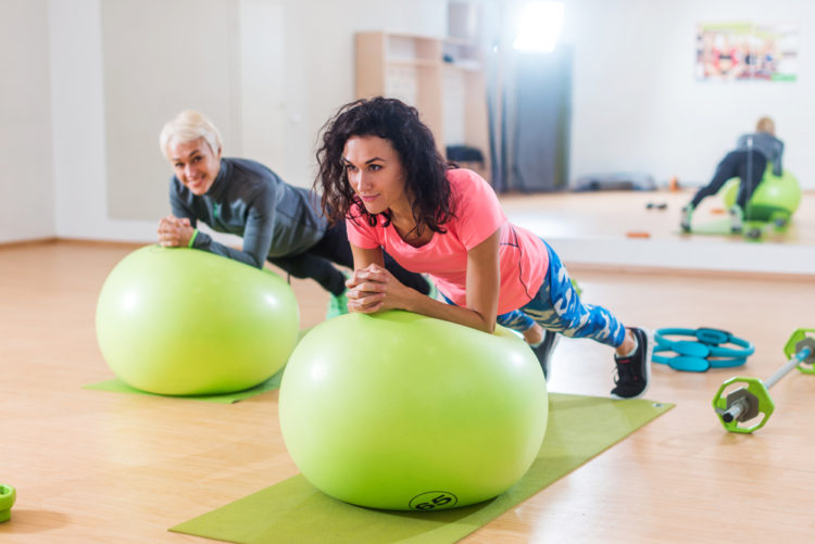 Ab exercise with a Swiss ball