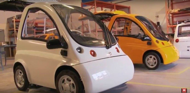 Image of electric car for wheelchair users in production.