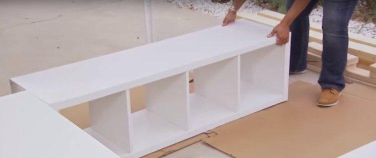 """Bookshelves for platform bed in a """"U"""" shape"""