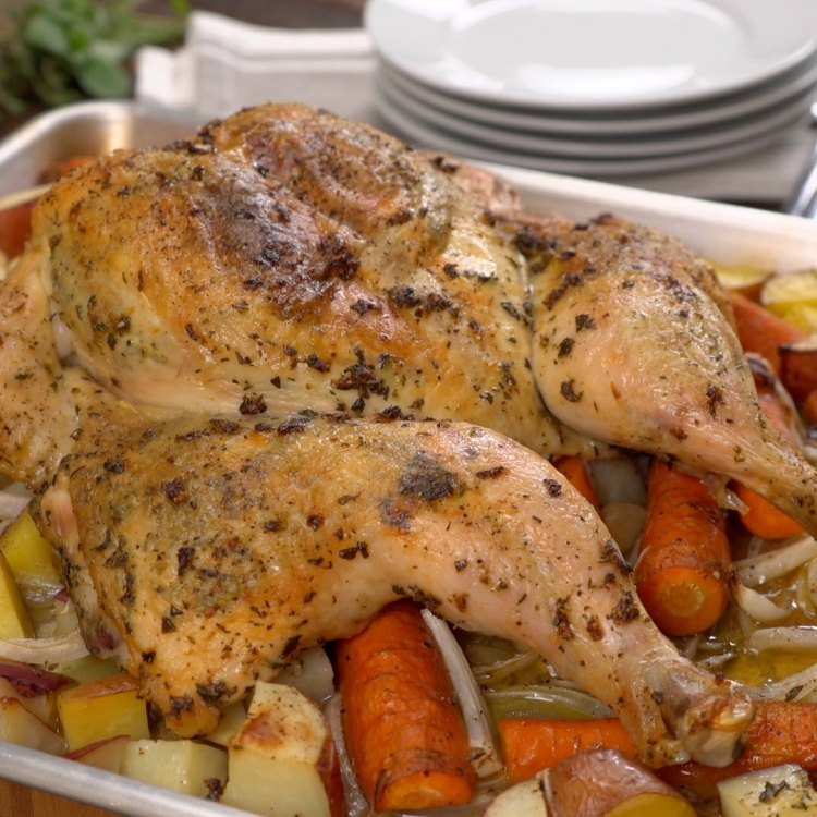 Garlic herb spatchcock chicken and vegetables