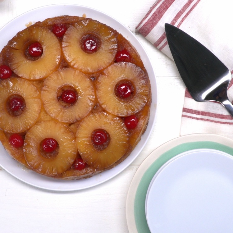 Overhead Pineapple Upside-Down Cake