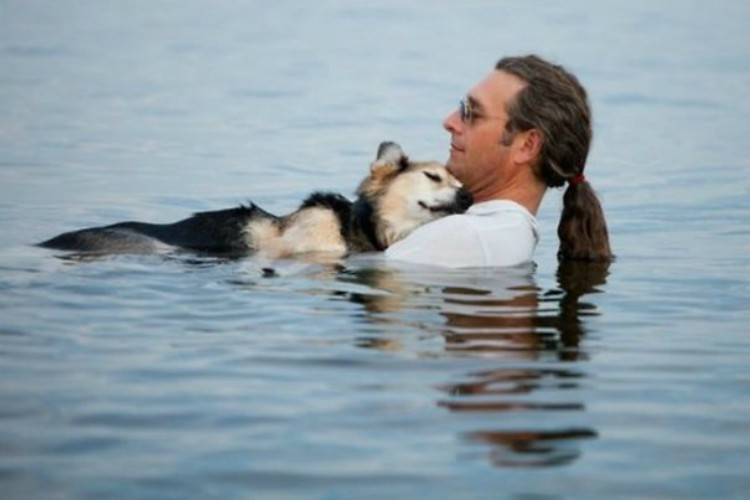 Image of man swimming with dog
