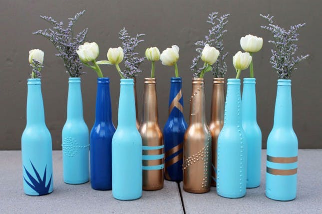 Painted beer bottle vases.