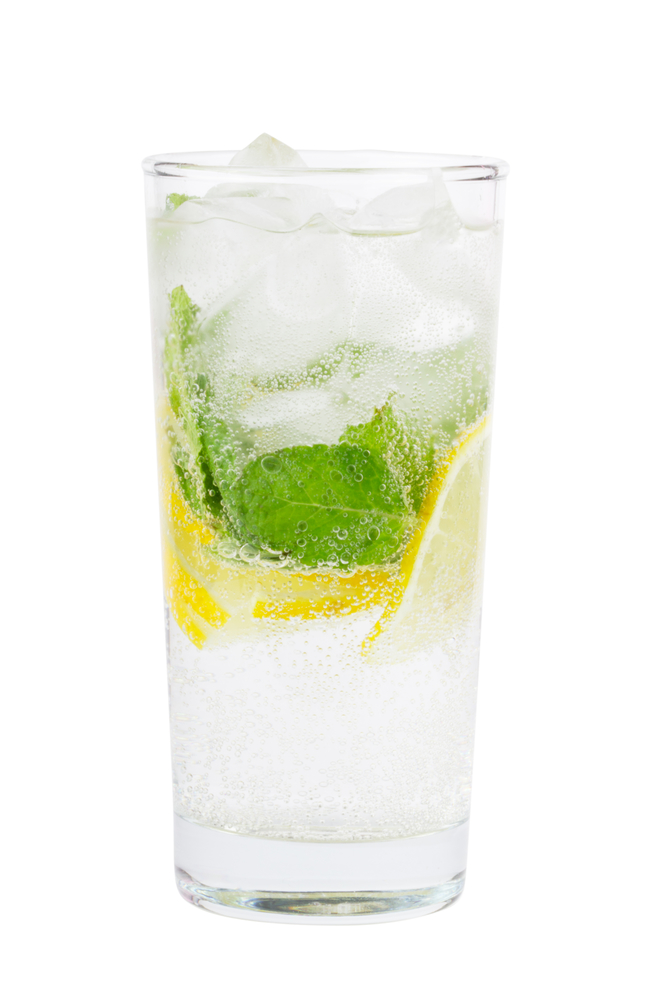 Club soda with lemon and mint