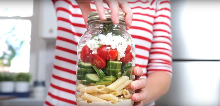 Greek salad pasta salad.