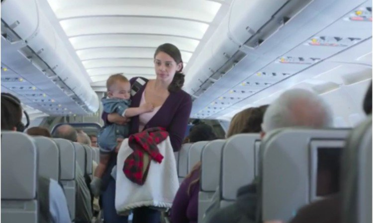 airplane mom and baby