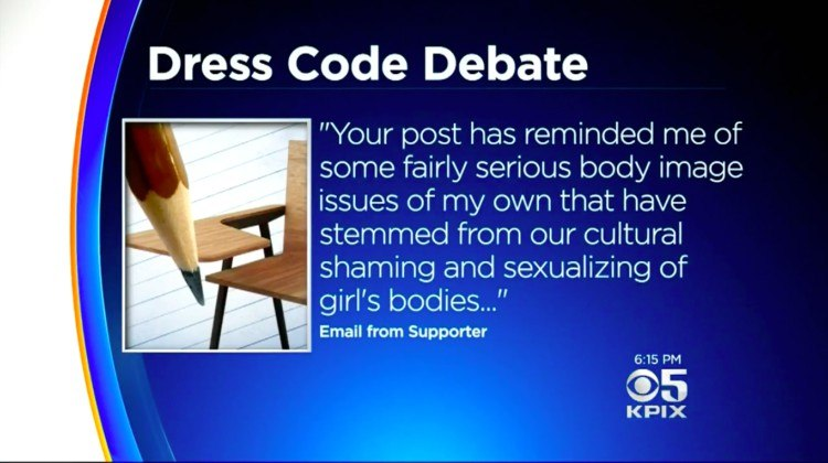 screen shot of dress code debate quote