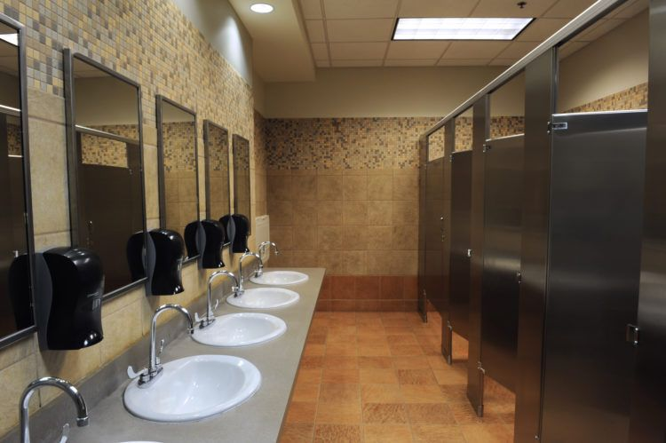 Lavatory sinks in a public restroom