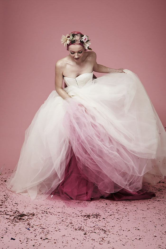This Dip Dyed Wedding Dress Trend Is So Gorgeous,Low Back Ball Gown Wedding Dress
