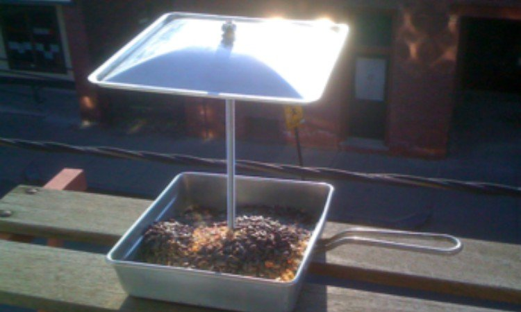 frying pan bird feeder