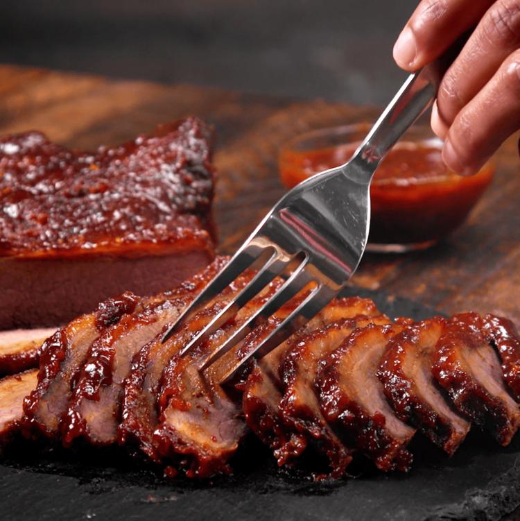 Oven-Barbecued Beef Brisket fork
