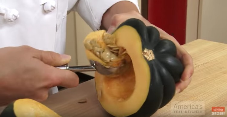 Scoop squash with an ice cream scoop.