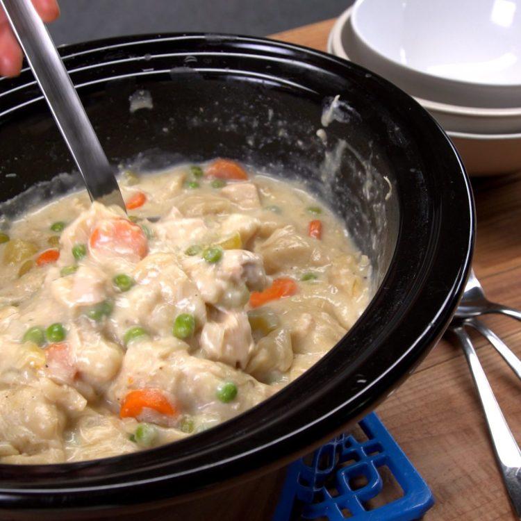 Slow Cooker Chicken & Dumplings crock pot serving